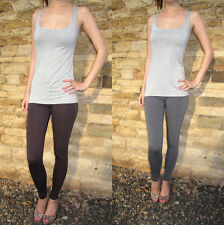 Ankle Length Leggings pants Viscose Stretch Chocolate Grey Size 8 10 12 14 16 18