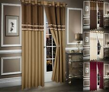 Faux Silk Stripe Curtains Eyelet Chenille Fully Lined Pair of Curtains Ring Top