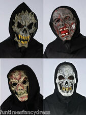 Halloween Black Hooded Mask Flesh Zombie Skull Fangs White Skull Grey Zombie