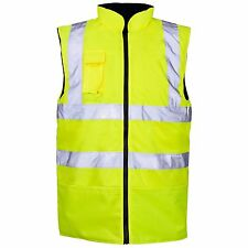 Hi Viz Reversible Fleece Lined Bodywarmer Waterproof Waistcoat Vis Visibility