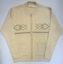 Adults Mens Zip Up Cardigan Jumper Jacquard Design Knitted Grey Blue Beige (34)