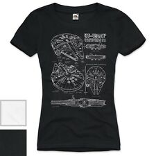 Millennium Falcon Damen T-Shirt blaupause falkon star darth wars solo han bluray