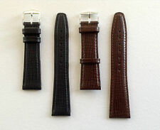 REPLACEMENT LEATHER WATCH STRAP FOR OMEGA BROWN/BLACK-SS BUCKLE 18/19/20/22MM