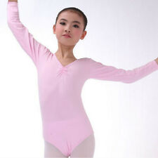 Girls Kids Long Sleeve Leotards Gym Ballet Dance Stretchy Cotton for 4-10 Years
