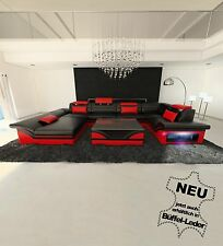 Leather sofa ENZO U-shaped Couch Set with LED Light black red
