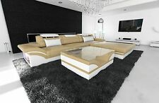 Leather sofa PARMA L Form Designer Sofa with RGB LED lighting