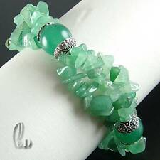AU SELLER Chic Green Natural Jade&Tibet silver Bracelet 020292