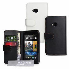 HTC ONE M7 High Quality Faux Leather Wallet Cover In Black / White + Screen Film