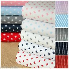 10mm Mini Stars 100% Cotton Fabric White Blue Red  Blue Grey Baby Pink Fabric