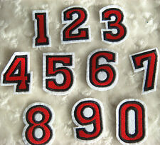 Numbers Embroidered Red Applique Patch Number Iron-on 0-9 Choosing A503 B#
