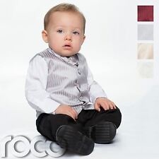 Baby Boys Waistcoat Suit, Page Boy Suits, Black Trousers, Striped Pattern