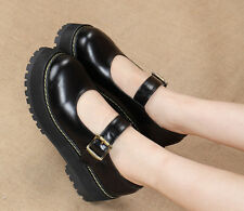 Women Flats Platform Mary Jane Retro Buckle Round Toe Oxford College Dress Shoes