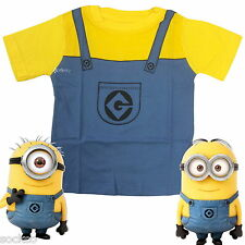 Official Minions Overall Dress Up T Shirt Top 2-3 4-5 & 6-7 Years Despicable Me