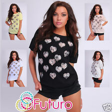 Casual Top Hearts Pattern Short Sleeve T-Shirt Crew Neck Tunic Size 8-14 FT1908