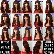 RED Brown Natural Long Curly Straight Wavy Fashion FULL WOMEN LADIES HAIR WIG
