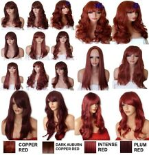 WIG WINE RED Natural Long Curly Straight Wavy FANCY DRESS PARTY LADIES HAIR WIG