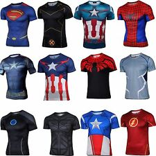 Mens Superhero DC Comics Cycling Costume Gym Sports Bicycle Jersey Top T-shirt
