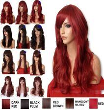 DARK RED Wig Long Curly Straight Fashion Party Fancy Dress Halloween Ladies Wig