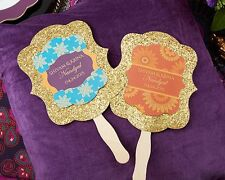 Set of 144 Personalized Gold Glitter Indian Jewel Hand Fans Wedding Favors