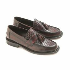 Ikon Tisserand Mens Poli Cuir Gland Classique Mocassins Confortables Bordo Rouge