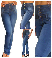 Jean Taille Haute Taille Jeans Skinny Femme New Femmes Bleu Size 6 8 10 12 14