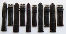 ALLIGATOR GRAIN STRAP BLACK/COLOURED STITCHING 18MM - 24MM PANERAI/TW STEEL/ETC