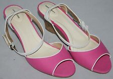 Ladies Cork Wedge Sandals NEW Womens Pink Canvas with Leather Straps RRP £80