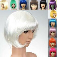 Womens Girls Sexy Short BOB Hair Wig With Straight Bangs Cosplay Party Full Wigs