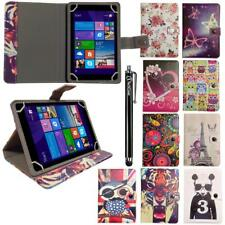 """Printed Leather Wallet Case Cover Folio Stand for 7"""" Inch Android Tablet+ Stylus"""