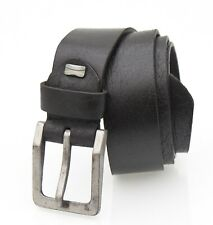New Thick Black Leather Belt Mens Rugged Belt distressed buckle by Prime Hide