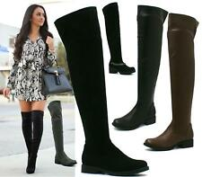 LADIES WOMENS THIGH HIGH OVER THE KNEE FLAT PLATFORM HEEL STRETCH BOOTS SIZE