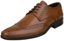 Mens Brand New Tan Brown Leather Formal Brogue Shoes Size 6 7 8 9 10 11 12