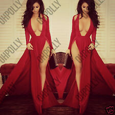 Womens Double Leg Split Red Low Neck Cut Out Prom Gown Evening Maxi Ladies Dress