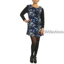 SAMYA PLUS SIZE LEOPARD PRINT 3/4 SLEEVES KNITTED TUNIC DRESS BLUE SIZE RRP £30