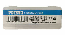 Presto UK 8BA Taps and Dies HSS First, second, plug / Direct from RDGTools