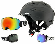 Alpina Snow Mythos Skihelm schwarz mit TWO-X Air Skibrille Snowboard Brille