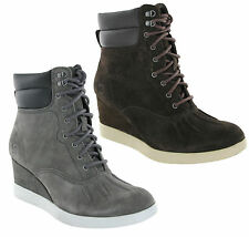 CAT Caterpillar Felicity Leather Wedge Heeled Womens Ankle Boots Size 3-8 UK
