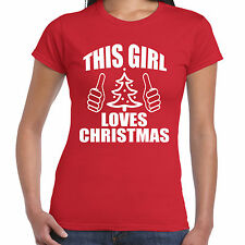 Grabmybits - This Girl Loves Natale Ladies T-Shirt - Natale Regalo Maglietta