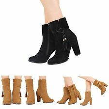 NEW WOMENS LADIES HIGH HEEL TASSLE ZIP UP CHELSEA ANKLE BOOTS SHOES SIZE 3-8