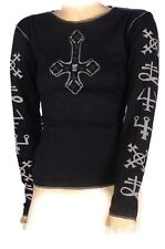 Upside Down Gothic Cross Girls Long Sleeve Top print by Omen Clothing