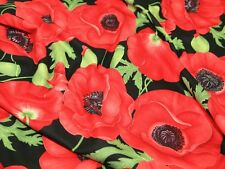 Timeless Treasures Poppies Quilting Fabric (C1051-Red-M)