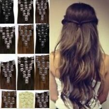 Clip in Synthetic Hair Extensions Fake Full Head & 1pc Half Brown Blonde Hair
