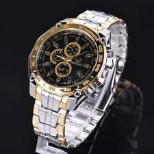 Wrist Watch Men's Quartz Analog Stainless Steel Band Sports 3 Colors JTOO