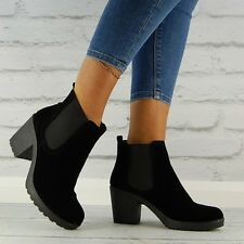 Womens black chelsea chunky block heel elasticated ankle boot Ladies shoe size