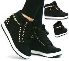 LADIES WOMENS WEDGE CONCEALED HEEL HIGH TOPS PLATFORM TRAINERS ANKLE BOOTS SHOES