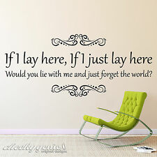 Snow Patrol Chasing Cars If I Lay Here Song Lyrics Vinyl Wall Art Sticker SP1A