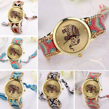 Donna Orologio Elephant Weaved Band Stainless Steel Bracciale Quartz Women Watch