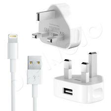 Genuine Apple Mains Charger Plug + 2 Metre USB Data Sync Cable For iPhone / iPod