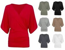 NEW LADIES WRAPOVER BATWING TOP 3/4 SLEEVE V NECK FRONT DRAPE LOOSE BLOUSE
