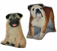 CUTE DOG SHAPED CUSHION - PUG BRITISH BULLDOG ANIMALS PETS Bedroom decor Gift
